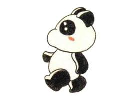大熊猫色铅笔简笔画作品
