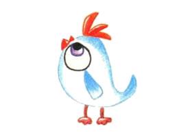 卡通小鸟色铅笔简笔画画法步骤