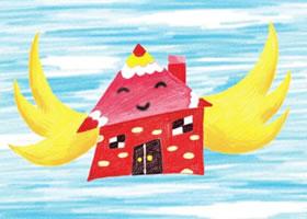 会飞的房子儿童蜡笔画画法