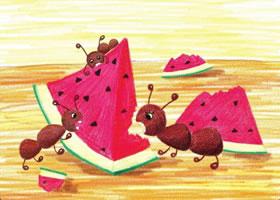 小蚂蚁吃习惯儿童蜡笔画画法