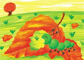 毛毛虫儿童蜡笔画画法
