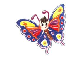蝴蝶色铅笔简笔画画法步骤