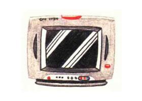 电视机色铅笔简笔画画法步骤