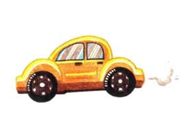 小汽车色铅笔简笔画画法步骤