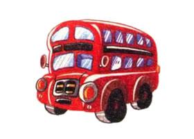 双层巴士色铅笔简笔画画法步骤