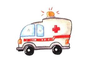 救护车色铅笔简笔画画法步骤