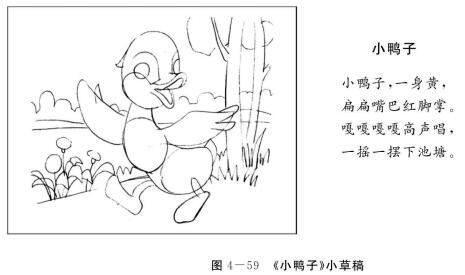 《小鸭子》儿童绘画创编,小草稿