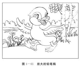 儿歌《小鸭子》绘画创编,放大的铅笔稿