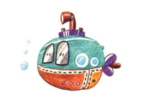 潜水艇色铅笔简笔画画法步骤