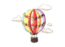 热气球色铅笔简笔画画法步骤