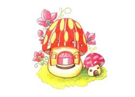 蘑菇房子色铅笔简笔画画法步骤