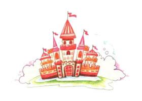 城堡色铅笔简笔画画法步骤