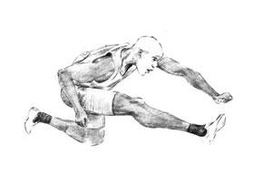 跨栏选手素描画法步骤
