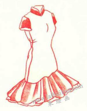 旗袍色铅笔简笔画画法步骤 来绘画网