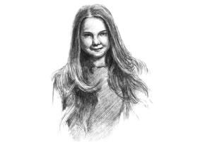 长发少女素描画法步骤