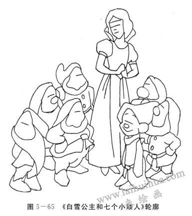 白雪公主和七个小矮人的轮廓