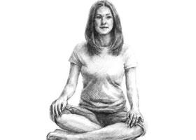 瑜伽女生素描画法步骤