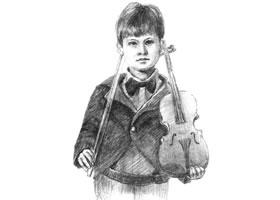 拉提琴的男孩素描画法步骤
