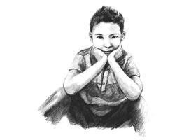 羞涩的男孩素描画法步骤