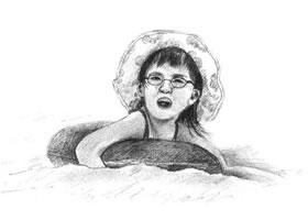 游泳的小女孩素描画法步骤