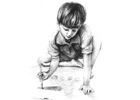 画画的男孩素描画法步骤