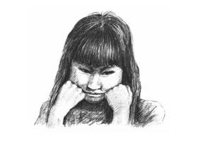 委屈的女孩素描画法步骤