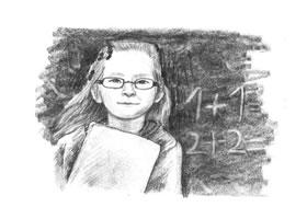戴眼镜的小女孩素描画法步骤