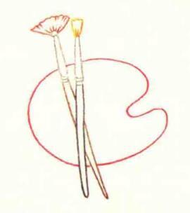 调色盘的色铅笔简笔画画法步骤02