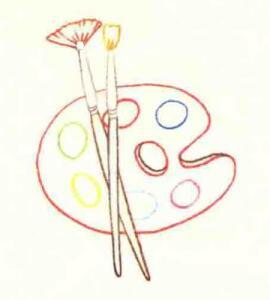 调色盘色铅笔简笔画画法步骤03