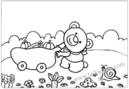 小熊运蔬菜油棒画画法步骤01