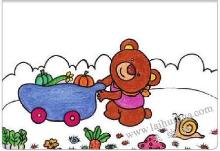 小熊运蔬菜油棒画画法步骤04