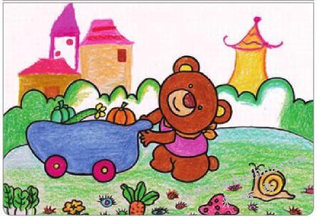 小熊运蔬菜油棒画画法步骤05