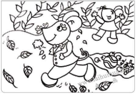 老鼠回家油棒画画法步骤01