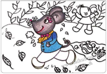 老鼠回家油棒画画法步骤02