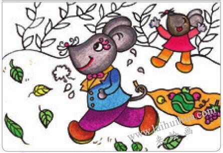 老鼠回家油棒画画法步骤04