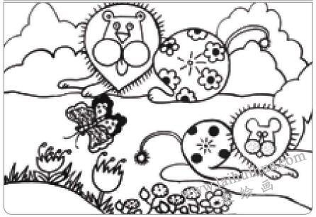 狮子王油棒画画法步骤01