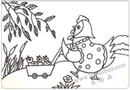 母鸡叫咯咯油棒画画法步骤01