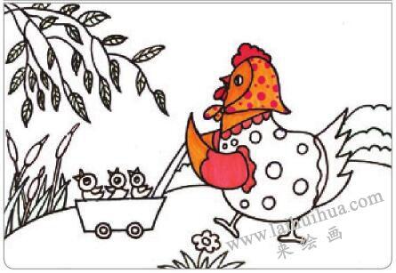 母鸡叫咯咯油棒画画法步骤02
