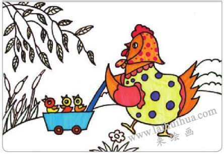母鸡叫咯咯油棒画画法步骤03