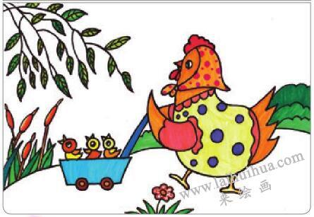 母鸡叫咯咯油棒画画法步骤04