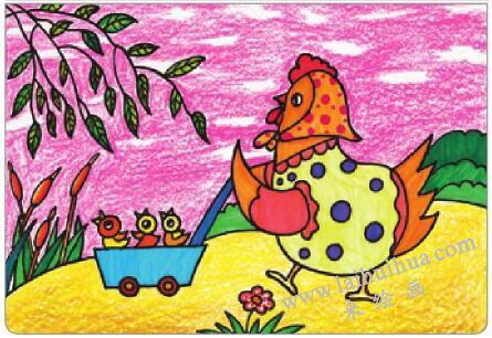 母鸡叫咯咯油棒画画法步骤05