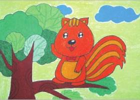 幸福的小松鼠油棒画画法步骤