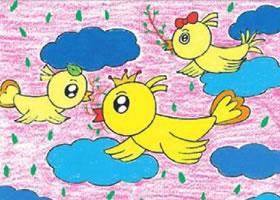 自由的小鸟油棒画画法步骤
