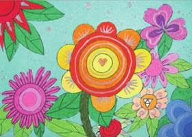 花朵的油棒画画法步骤
