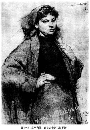 女子肖像素描,比尔格鲁别