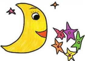 星星和月亮油棒画画法步骤