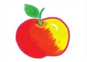 圆圆的红苹果油棒画画法步骤