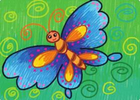漂亮的蝴蝶油棒画画法步骤
