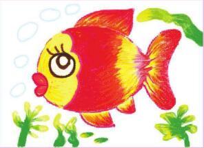 自在的鱼儿油棒画画法步骤03