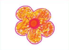 五颜六色的小花儿油棒画画法步骤03